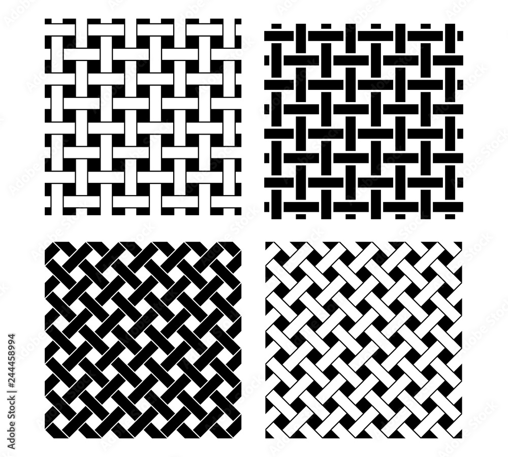 Fototapeta Seamless knot pattern in black and white, vector