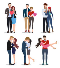 Couple Vector Characters Set. Valentines Lovers In Relationship Dating, Holding Hands And Kissing Isolated In White Background. Vector Illustration.
