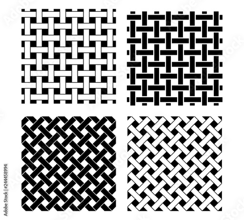 Seamless knot pattern in black and white, vector Fototapet
