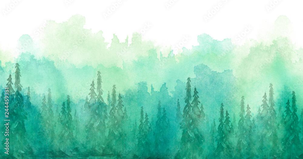 Akwarela grupa drzew - jodła, sosna, cedr, jodła. zielony las, krajobraz, krajobraz leśny. Rysunek na białym tle odizolowane. Mglisty las w haz. Plakat ekologiczny. Malarstwo akwarelowe <span>plik: #244459331 | autor: helgafo</span>
