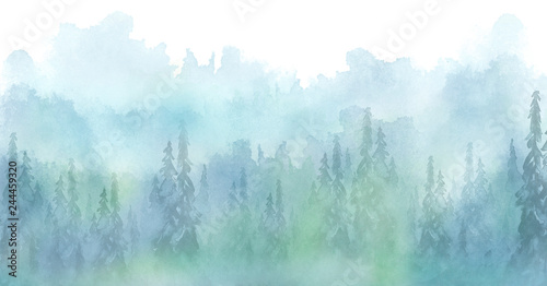Photo sur Aluminium Bleu clair Watercolor art illustration. Drawing of the blue forest, pine tree, spruce, cedar. Dark, dense forest, suburban landscape. Postcard, logo, card. Misty forest, haze.