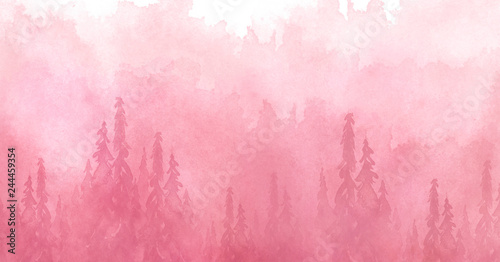 Poster Rose clair / pale Watercolor art illustration. Drawing of the red, pink forest, pine tree, spruce, cedar. Dark, dense forest, suburban landscape. A beautiful burst of paint pink. Postcard, logo, card