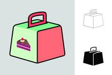 Cake Box Icon With Three Diffe...