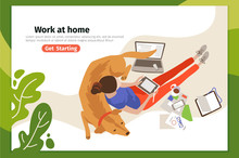 Work At Home Landing Page Vector Template