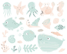 Seahorse, Octopus, Crab, Snail, Fugue Fish, Starfish, Whale, Dolphin, Jellyfish Baby Cute Illustration. Sweet Sea Animals.