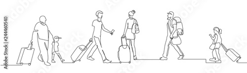 Obraz People walking with luggage continuous one line vector drawing - fototapety do salonu