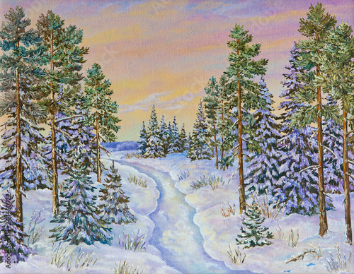 Poster Taupe Winter landscape with the road and pine trees in the snow on a canvas. Original oil painting.