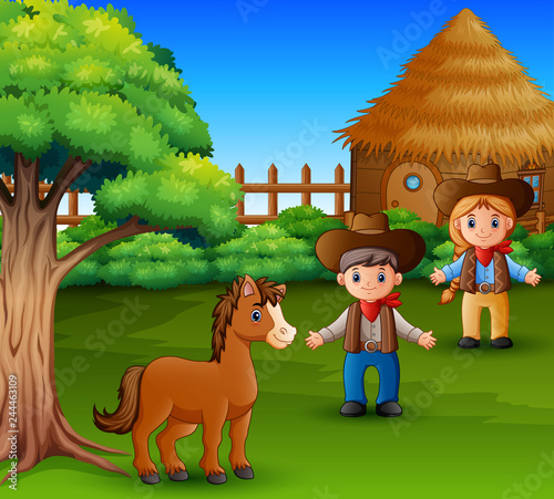 Foto op Canvas Honden Little horse and farmer wearing rustic clothes
