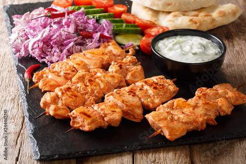 Mediterranean Chicken Kebab with Vegetables, Yogurt Sauce and Pita Bread closeup. horizontal