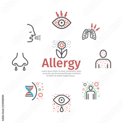 Allergy banner, symptoms line icons infographic Wallpaper Mural