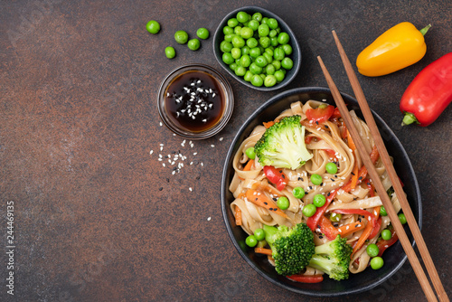 Noodles stir fry with vegetables Canvas Print