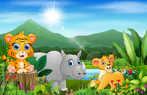 Tuinposter Vlinders Cartoon of the beautiful landscape with different animals