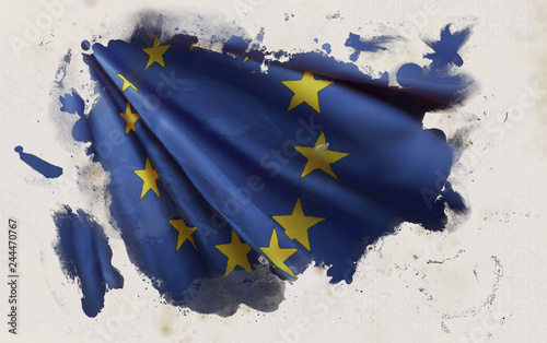 Foto  Europe Flag, Eu National Colors Background  <<3D Rendering>>