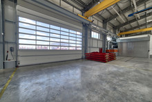 A Modern Factory. Large Entrance Gates
