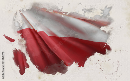 Polish Flag, Poland National Colors Background  <<3D Rendering>>