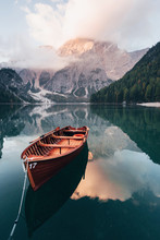 Vertical Photo. Wooden Boat On...