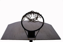 Old Basketball Ring On The Whi...