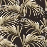 wzór z złote liście palmowe na ciemnym tle - 244477723