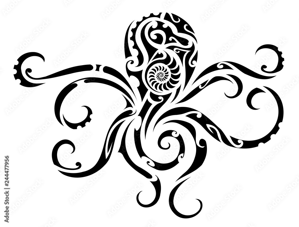 Fototapeta Octopus tribal tattoo