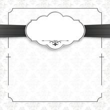 Cross Ornaments Obituary Black Frame Emblem Ribbon