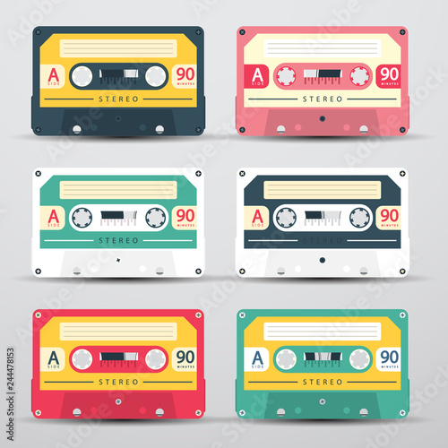 Fotografie, Obraz Retro Audio Cassettes Set - Vector Cassete Icons Isolated on Light Background