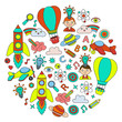 Education and imagination illustration for little children. Image for kindergarten, school kids. Travel, adventure, exploration.