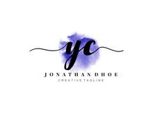 Y C Initial Watercolor Logo On...