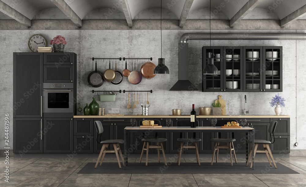 Fototapety, obrazy: Retro black kitchen in a grunge interior