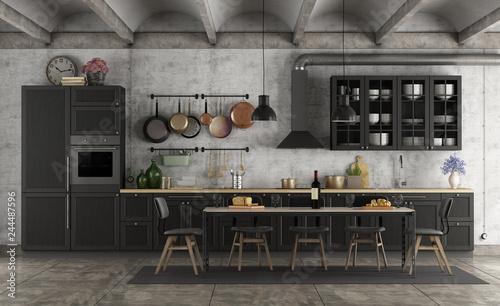 фотография  Retro black kitchen in a grunge interior