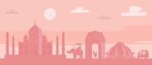 India Travel Banner Landscape Of India Landmarks, Taj Mahal, Lotus Temple, India Gate Vector Illustration