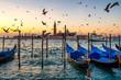 Sunrise over St Giorgio Maggiore and Birds over the Grand Canal, Venice, Italy