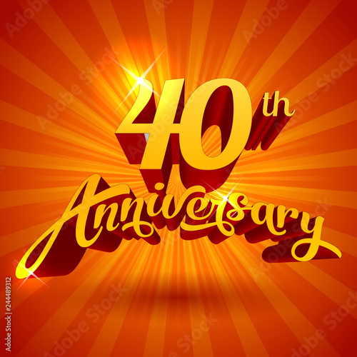 40th Anniversary Cool Golden Luxury Vector Template For