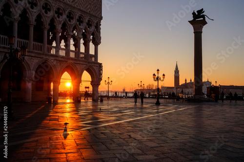 Canvas Prints Bridge Dawn on Saint Mark's Square, Morning in Venice, Italy.