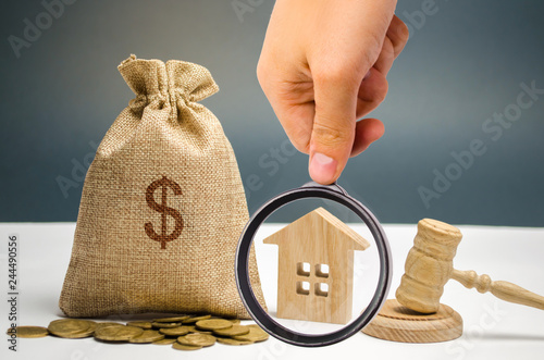 Bag of money, house and gavel Wallpaper Mural