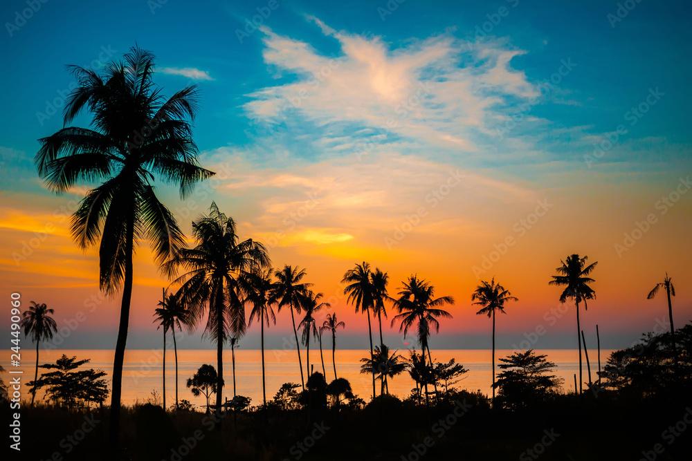 Fototapeta Palm trees at sunset, Koh Chang