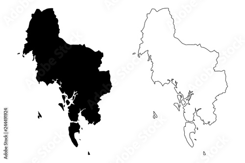 Krabi Province (Kingdom of Thailand, Siam, Provinces of Thailand) map vector ill Fototapete