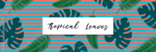 Tropical leaves seamless pattern. Line background in coral color