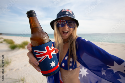 Woman celebrate Australia Day with beer Wallpaper Mural