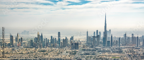 Panoramic aerial view of Dubai skyline, United Arab Emirates