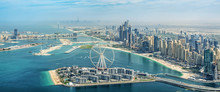Panoramic Aerial View Of Dubai Marina Skyline With Dubai Eye Ferris Wheel, United Arab Emirates