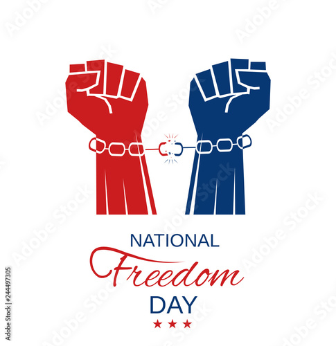 Fotografía  National Freedom Day white poster with hands in chains