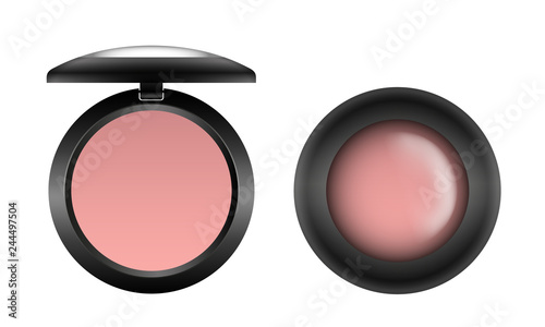 Vector realistic pink compact blush in black open and closed container top view Fototapet