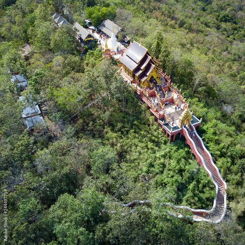 Deurstickers Asia land Aerial view of Wat Phra That Doi Phra Chan, Buddhist temple on the hill in Lampang province, Thailand.