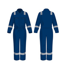 Blue Work Overalls With Safety...