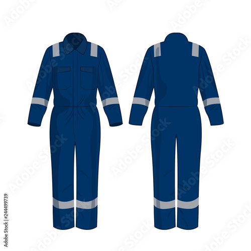 Blue work overalls with safety band isolated vector on the white background Wall mural