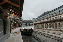 Train Arriving At Railway Plat...