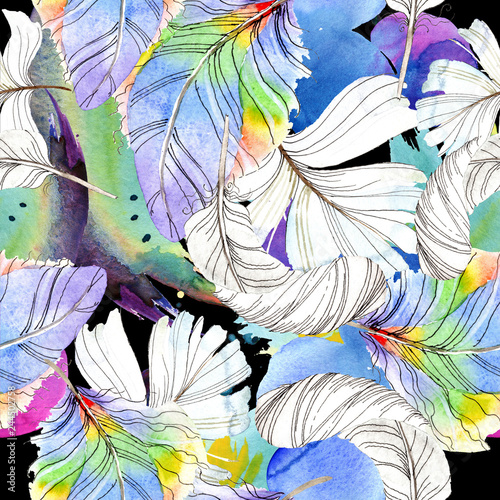 La pose en embrasure Fées, elfes Colorful bird feather from wing isolated. Watercolour drawing fashion aquarelle isolated. Seamless background pattern.