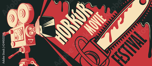 Vector banner for festival horror movie. Illustration with old film projector, a bloody chainsaw and blood spatter. Scary cinema. Horror film night. Can be used for ad, banner, flyer, web design