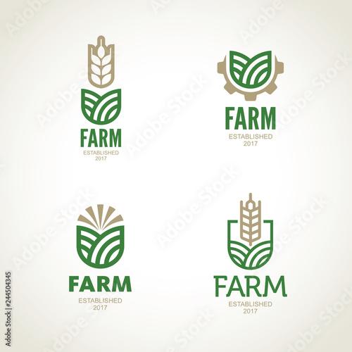 Farm vector logo. Agro emblem Wallpaper Mural