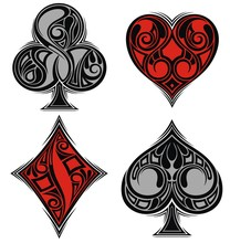 Playing Card Suits. Spades, He...